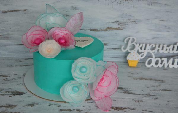 бирюзовый торт тиффани цветы